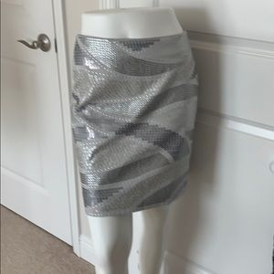 WHBM Gray and silver skirt midi size 2